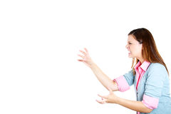 Side view profile portrait of a stressed angry mad woman threatening someone with her claws , nails Stock Photography