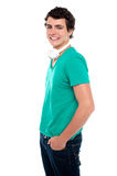 Side view, profile shot of smart casual guy royalty free stock image