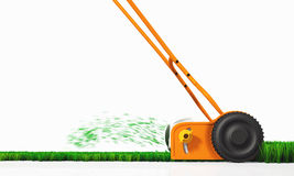 A side view of a push lawn mower at work. A side view of an orange push lawn mower in movement, that is cutting the grass along a straight strip of green lawn on Royalty Free Stock Images