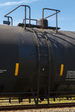 Side View Of A Railroad Tank Car Valve Dome And La. A close up side view shot of a general purpose insulated black tank rail cars (DOT 111A100W1 type) side Royalty Free Stock Photo