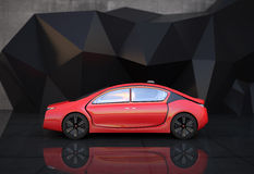 Side view of red autonomous car Royalty Free Stock Photos