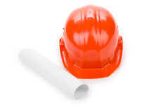 Side view of red hard hat. Stock Photos