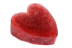 Side view of a red ice heart. Stock Image