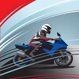 Motorcycle racer side view stock illustration