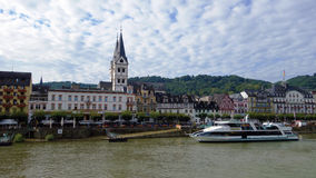 Side view of the river Rhine. Side views of the Rhine river, river vessels carrying passengers Royalty Free Stock Images
