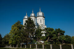 Side view of a romanian church on a blue sky. In Bukovina (Bucovina), Moldavia (Moldova Royalty Free Stock Photography