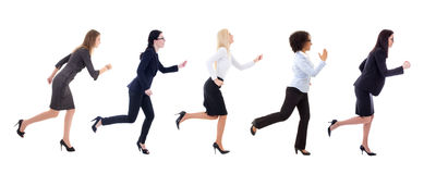 Side view of running business women isolated on white. Background Royalty Free Stock Photography