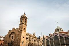Saint Joan del Mercat church and Central Market in Valencia Stock Image