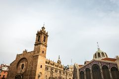 Saint Joan del Mercat church and Central Market in Valencia Royalty Free Stock Photos