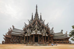 Side View of Sanctuary of The Truth. Pattaya, Chonburi Province, Thailand Royalty Free Stock Images
