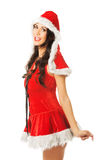 Side view of santa woman smiling to the camera Stock Photography