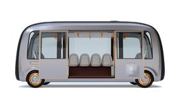Side view of self-driving shuttle bus with doors opened isolated on white background. 3D rendering image stock illustration