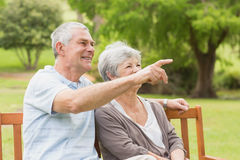 Side view of a senior couple at the park Royalty Free Stock Image