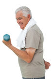 Side view of a senior man exercising with dumbbell Royalty Free Stock Image