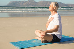 Side view of senior man meditating at beach Stock Image