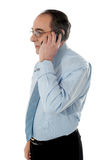 Side view of a senior manager attending phone call. Isolated on white Royalty Free Stock Photo
