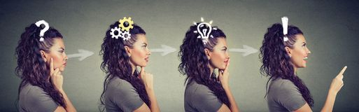 Side view sequence of a woman being thoughtful, thinking, finding a solution Royalty Free Stock Photos
