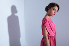 Side view of serious beauty woman Royalty Free Stock Photography