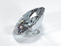 Side view of a shining diamond on a white background Royalty Free Stock Image