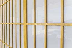 Side view of Shoji door can be used as background. Side view of Shoji door background. It made from small wooden frame and acrylic sheet Stock Photography