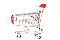 Side view of a shopping cart Royalty Free Stock Photos