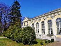 Free Side View Shot Of The Hotel Wall And Bushes Next To It In Spa Park, Jelenia Góra, Poland. Stock Photography - 172212832