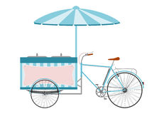 The ice cream bike. Side view of a silhouette of the ice cream bike on a white background Royalty Free Stock Image