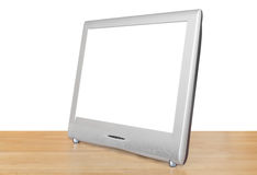 Side view of silver TV set display Royalty Free Stock Photos
