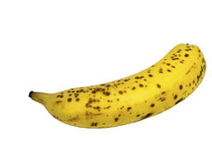 Side View of Single Banana with Spotted Peel Stock Image