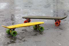 Side view of skateboards with red and reen wheels in skate park Royalty Free Stock Photo