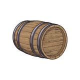 Side view of sketch style lying wooden barrel stock illustration