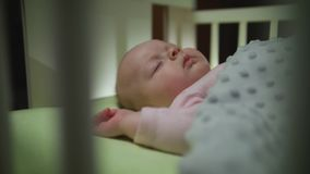Side View of Sleeping Newborn Baby Dolly Shot Close Up royalty free stock image