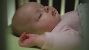Side View of Sleeping Newborn Baby Dolly Shot Close Up stock photography