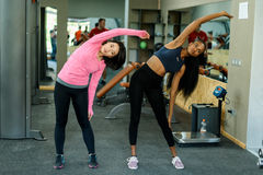 Side view of slim black african-american fitness instructor and asian lovely woman doing exercise work together in the Stock Image