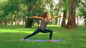 Sportswoman practicing yoga. Side view slim woman doing asana warrior pose in park. caucasian girl with long curly hair trains outdoors. nature landscape with stock video