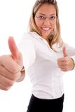Side view of smiling accountant showing thumb up Stock Images
