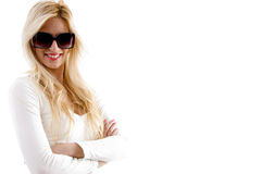 Side view of smiling female Royalty Free Stock Images