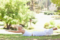 Side view of a smiling woman doing her exercises in the park Stock Images