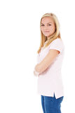 Side view of a smiling young woman Royalty Free Stock Photo