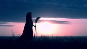 Profile a witch with besom standing on the hill evening skyline halloween. Side view sorceress in fluttering cloak holding broom posing on field on the stock video footage