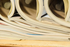Side view of a stack of magazines Royalty Free Stock Photography