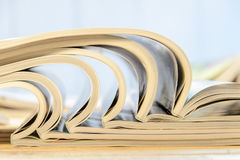 Side view of a stack of magazines Royalty Free Stock Image