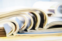 Side view of a stack of magazines Royalty Free Stock Photo