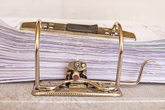 Side view of stack of used papers Stock Image