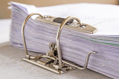 Side view of stack of used papers Royalty Free Stock Images