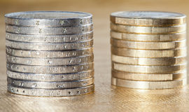 Side view of stacked coins Royalty Free Stock Images