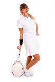 Side view of standing player with tennis racket Royalty Free Stock Photography
