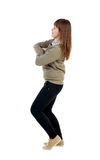 Side  view of standing young beautiful  woman. Royalty Free Stock Photos