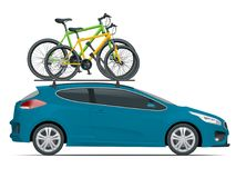Side view station wagon car with two bicycles mounted on the roof rack. Flat style vector illustration isolated on white. Background Stock Illustration