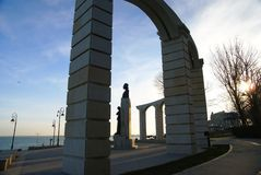 Side view of the Statue of Mihai Eminescu,great romanian writer. Seafront at the Black Sea in Constanta City ,Romania . Side view of the Statue of Mihai Eminescu royalty free stock photo